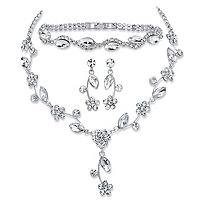 "Marquise-Cut Crystal 3-Piece Floral Vine Earrings, Necklace and Bracelet Set in Silvertone 13""-17"""