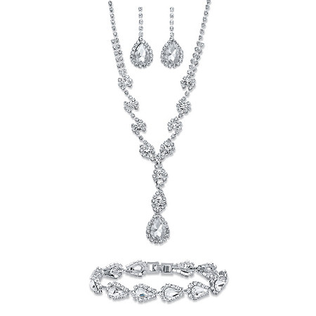 Pear-Cut Crystal 3-Piece Halo Earrings, Y Necklace and Bracelet Set in Silvertone 15