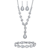 "Pear-Cut Crystal 3-Piece Halo Earrings, Y Necklace and Bracelet Set in Silvertone 15""-20"""
