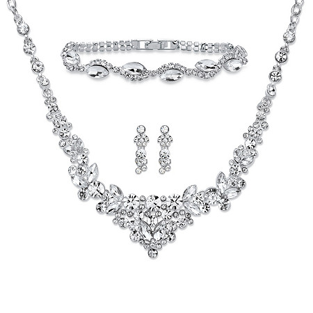 Round and Marquise-Cut Crystal 3-Piece Floral Cluster Earrings, Necklace and Bracelet Set in Silvertone 18