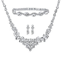 "Round and Marquise-Cut Crystal 3-Piece Floral Cluster Earrings, Necklace and Bracelet Set in Silvertone 18""-21"""