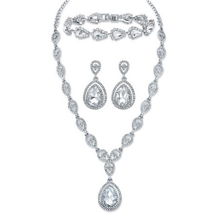 "Pear-Cut Crystal 3-Piece Double Halo Earrings, Drop Necklace and Bracelet Set in Silvertone 17""-19.5"" at PalmBeach Jewelry"