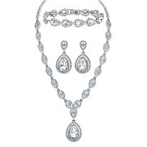 "Pear-Cut Crystal 3-Piece Double Halo Earrings, Drop Necklace and Bracelet Set in Silvertone 17""-19.5"""