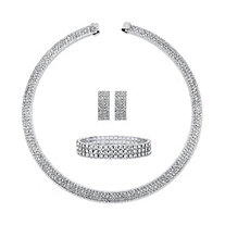 Princess-Cut and Round Crystal 3-Piece Earrings, Open Collar Necklace and Stretch Bracelet Set in Silvertone 13""