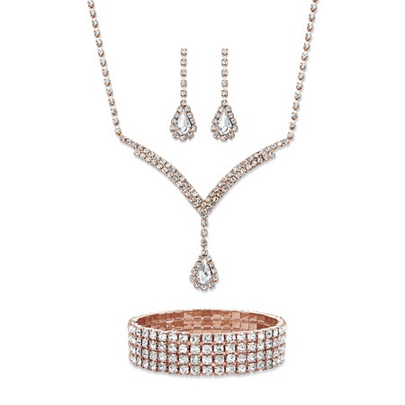 Pear-Cut Crystal 3-Piece Halo Drop Earrings, Y Necklace and Stretch Bracelet Set in Rose Gold Tone 13