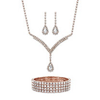 "Pear-Cut Crystal 3-Piece Halo Drop Earrings, Y Necklace and Stretch Bracelet Set in Rose Gold Tone 13""-17"""