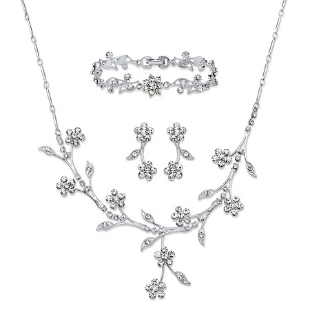 Crystal Floral Vine 3-Piece Drop Earrings, Necklace and Bracelet Set in Silvertone 16.5