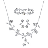 Crystal Floral Vine 3-Piece Drop Earrings, Necklace And Bracelet Set In Silvertone ONLY $26.99