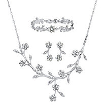 "Crystal Floral Vine 3-Piece Drop Earrings, Necklace and Bracelet Set in Silvertone 16.5""-19.5"""