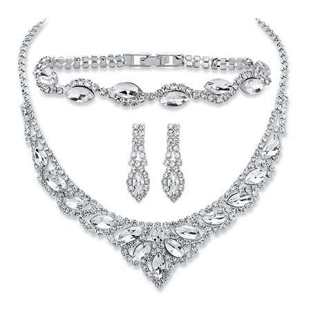 Marquise-Cut Crystal 3-Piece Drop Earrings, Tiara Bib Necklace and Bracelet Set in Silvertone 13