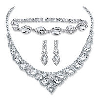 "Marquise-Cut Crystal 3-Piece Drop Earrings, Tiara Bib Necklace and Bracelet Set in Silvertone 13""-17"""