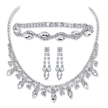 Marquise-Cut Crystal 3-Piece Drop Earrings, Collar Necklace and Bracelet Set in Silvertone 14