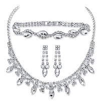 "Marquise-Cut Crystal 3-Piece Drop Earrings, Collar Necklace and Bracelet Set in Silvertone 14""-18"""