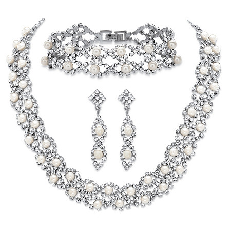 Simulated Pearl and Crystal 3-Piece Drop Earrings, Cluster Necklace and Twisted Strand Bracelet Set in Silvertone 15