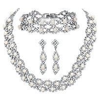 "Simulated Pearl and Crystal 3-Piece Drop Earrings, Cluster Necklace and Twisted Strand Bracelet Set in Silvertone 15""-18"""