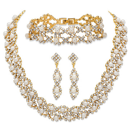 Simulated Pearl and Crystal 3-Piece Drop Earrings, Cluster Necklace and Twisted Strand Bracelet Set in Gold Tone 15