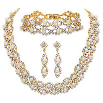 "Simulated Pearl and Crystal 3-Piece Drop Earrings, Cluster Necklace and Twisted Strand Bracelet Set in Gold Tone 15""-18"""