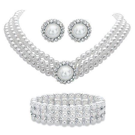 "Round Simulated Pearl and Crystal 3-Piece Halo Stud Earrings, Triple-Strand Necklace and Stretch Bracelet Set in Silvertone 13""-16"" at PalmBeach Jewelry"