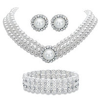"Round Simulated Pearl and Crystal 3-Piece Halo Stud Earrings, Triple-Strand Necklace and Stretch Bracelet Set in Silvertone 13""-16"""