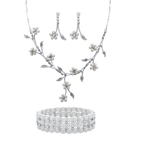 "Simulated Pearl and Crystal 3-Piece Floral Vine Earrings, Drop Necklace and Stretch Bracelet Set in Silvertone 16""-19"" at PalmBeach Jewelry"