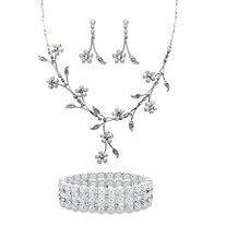 "Simulated Pearl and Crystal 3-Piece Floral Vine Earrings, Drop Necklace and Stretch Bracelet Set in Silvertone 16""-19"""