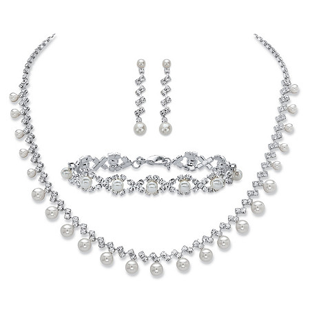 Simulated Pearl and Crystal 3-Piece Drop Earrings, Fringe Strand Necklace and Twisted Strand Bracelet Set in Silvertone 16.5