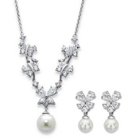 Simulated Pearl and Cubic Zirconia 2-Piece Floral Drop Necklace and Earrings Set 6.34 TCW in Silvertone 16