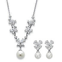 Simulated Pearl and Cubic Zirconia 2-Piece Floral Drop Necklace and Earrings Set 6.34 TCW in Silvertone 16""