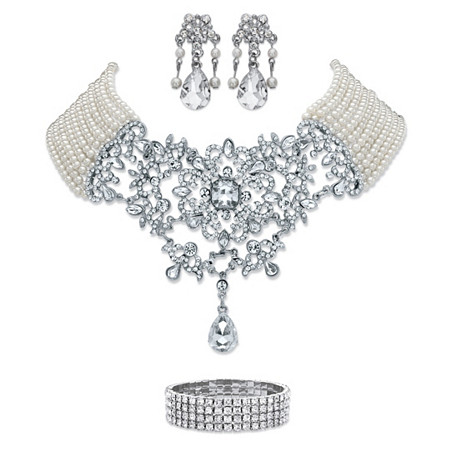 Simulated Pearl and Crystal 3-Piece Chandelier Earrings, Multi-Strand Floral Scroll Necklace and Stretch Bracelet in Silvertone 16.5