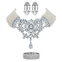 "Simulated Pearl and Crystal 3-Piece Chandelier Earrings, Multi-Strand Floral Scroll Necklace and Stretch Bracelet in Silvertone 16.5""-20.5"""
