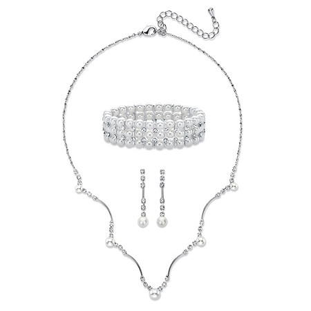 Simulated Pearl and Crystal 3-Piece Drop Earrings, Scalloped Necklace and Stretch Bracelet Set in Silvertone 16
