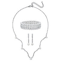 "Simulated Pearl and Crystal 3-Piece Drop Earrings, Scalloped Necklace and Stretch Bracelet Set in Silvertone 16""-19"""