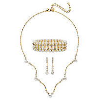 "Simulated Pearl and Crystal 3-Piece Drop Earrings, Scalloped Necklace and Stretch Bracelet Set in Gold Tone 16""-19"""