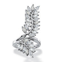 Marquise-Cut Cubic Zirconia Elongated Leaf Wrap Bypass Cocktail Ring 4.10 TCW Silvertone