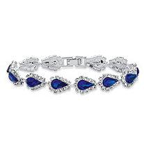 "Pear-Cut Simulated Blue Sapphire Halo Strand Bracelet 30 TCW in Silvertone 7"""