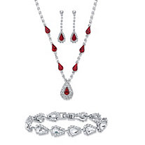 "Pear-Cut Simulated Red Garnet Crystal 3-Piece Necklace, Drop Earrings and Strand Bracelet Set in Silvertone 13""-17"""