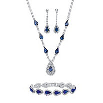 "Pear-Cut Simulated Blue Sapphire Crystal Halo Earrings, Necklace and Bracelet Set 46.65 TCW in Silvertone 13""-17"""