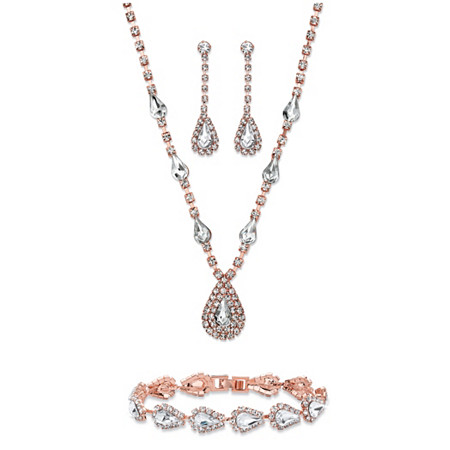 "Pear-Cut Crystal 3-Piece Halo Necklace, Earrings and Bracelet Set in Rose Gold Tone 13""-17"" at PalmBeach Jewelry"