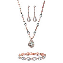 "Pear-Cut Crystal 3-Piece Halo Necklace, Earrings and Bracelet Set in Rose Gold Tone 13""-17"""