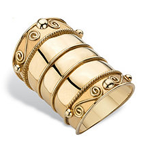 Bohemian Wide Cigar Band-Style Scroll Ring in 18k Gold over Sterling Silver