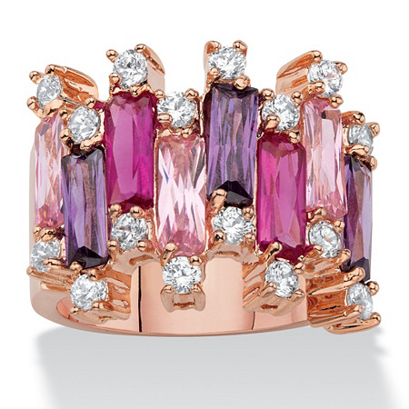 Emerald-Cut Pink and Purple Cubic Zirconia Vertical-Row Cluster Ring 8.96 TCW Rose Gold-Plated at PalmBeach Jewelry