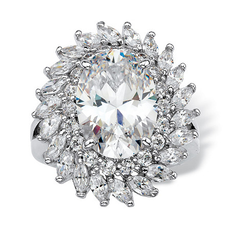 Oval-Cut Cubic Zirconia Double Halo Cocktail Ring 8.60 TCW Platinum-Plated at PalmBeach Jewelry