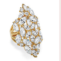 SETA JEWELRY Marquise-Cut Cubic Zirconia Cluster Cocktail Ring 9.30 TCW 14k Yellow Gold-Plated