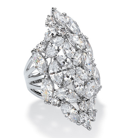 Marquise-Cut Cubic Zirconia Cluster Cocktail Ring 9.30 TCW in Silvertone at PalmBeach Jewelry