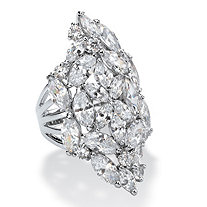 Marquise-Cut Cubic Zirconia Cluster Cocktail Ring 9.30 TCW in Silvertone