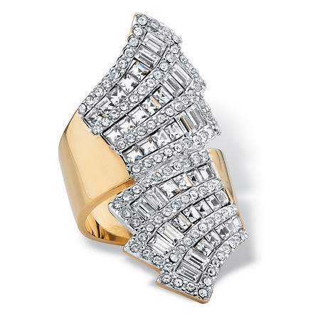 Step-Top Baguette Crystal Bypass Cocktail Ring MADE WITH SWAROVSKI ELEMENTS 14k Yellow Gold-Plated at PalmBeach Jewelry