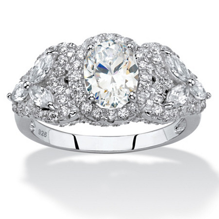 Oval-Cut Cubic Zirconia Halo Ring with Marquise-Cut Flower Accents 2.39 TCW in Sterling Silver at PalmBeach Jewelry