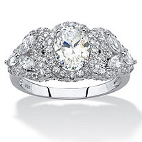 Oval-Cut Cubic Zirconia Halo Ring with Marquise-Cut Flower Accents 2.39 TCW in Sterling Silver
