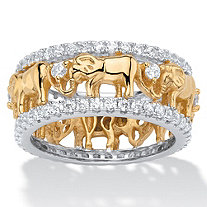 SETA JEWELRY Round Cubic Zirconia Two-Tone Elephant Parade Eternity Ring 1.40 TCW 18k Yellow Gold-Plated
