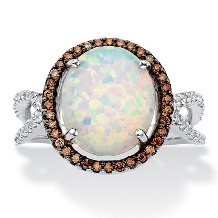 Oval-Cut Created Opal and Brown Cubic Zirconia Halo Ring 3.50 TCW in Sterling Silver at PalmBeach Jewelry